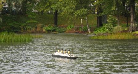 Titanic model on Griffin's Pond.