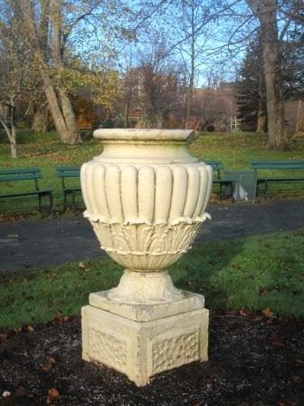Urn by the bandstand at the Halifax Public Gardens.