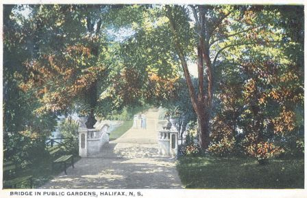 POST Upper bridge circa 1920. Halifax Public Gardens.