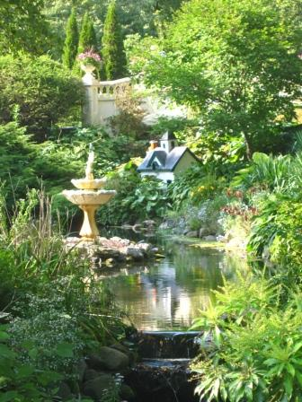 The upper bridge and miniature house at the Halifax Public Gardens 2011.