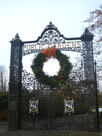 Wreath on the main gates of the Halifax Public Gardens.