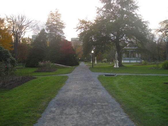 Looking west along the Petite allée at the Halifax Public Gardens.