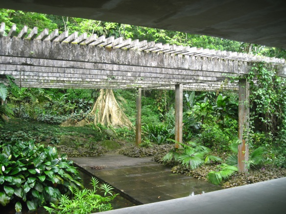 Looking out of an 'entertainment' open air room at Sitio Burle Marx in Rio de Janeiro.