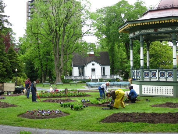 Gardeners planting the floating geometric beds at the Halifax Public Gardens