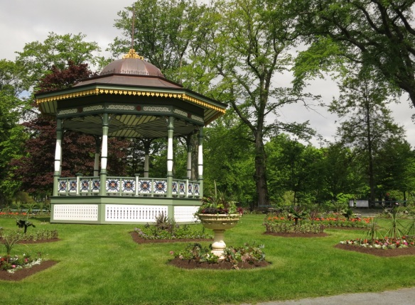 Floating geometric beds at the Halifax Public Gardens