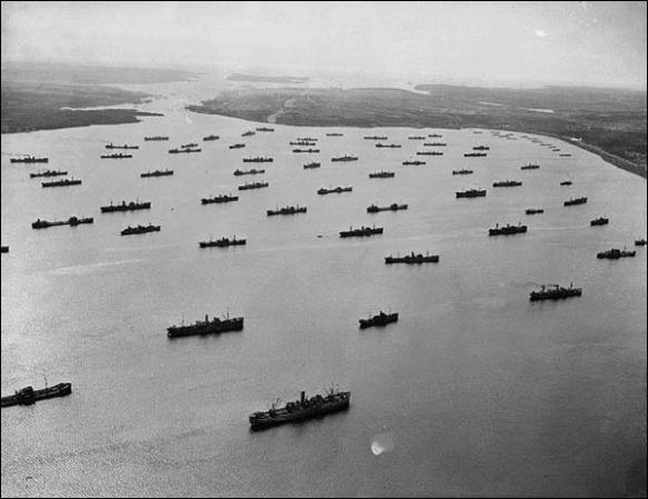 Convoys gathering in the Bedford Basin