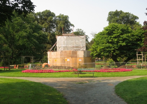 Victoria Jubilee Fountain under restoration at the Halifax Public Gardens