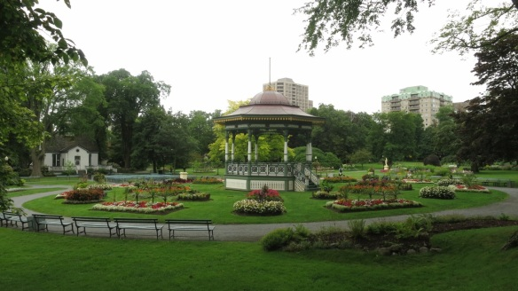 Vista of the bandstand at the Halifax Public Gardens