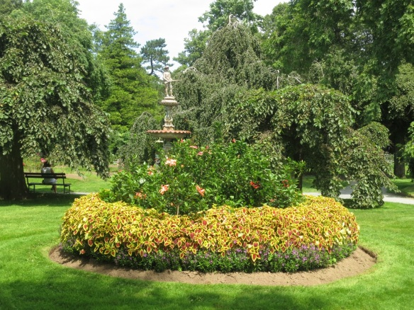 Boer war memorial and hibiscus bed at the Halifax Public Gardens