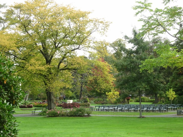 Seating by the bandstand at the Halifax Public Gardens