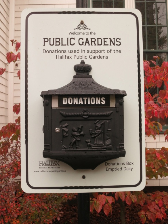 Donation box at the Halifax Public Gardens