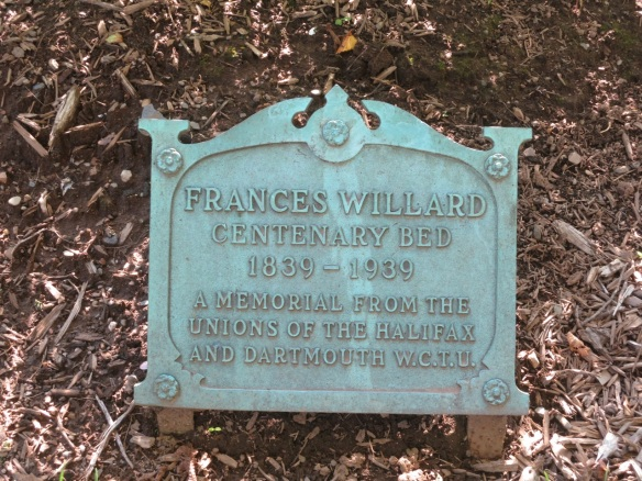 Frances Willard plaque at the Halifax Public Gardens