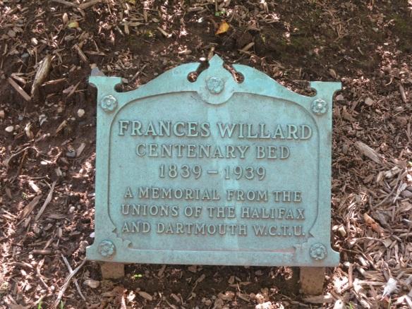 Frances Willard plaque at the Halifax Public Gardens