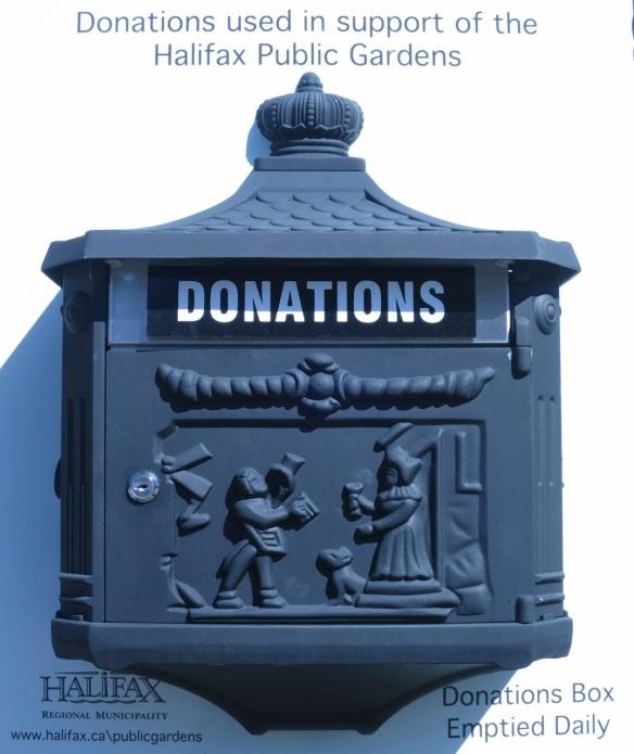 Donation box at the Halifax Public Gardens