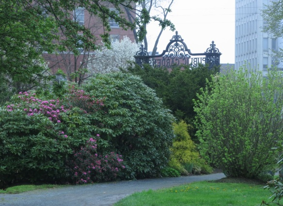 Main Gates of the Halifax Public Gardens from the inside out.