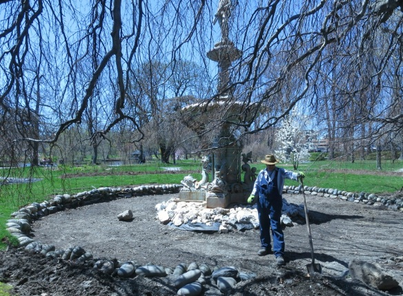 Repairing the Boer War Memorial Fountain area at the Halifax Public Gardens
