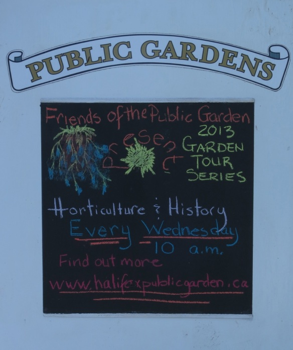 Tour sign Helen made at the Halifax Public Gardens