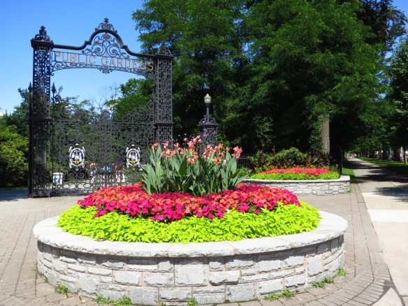 Main gates and raised beds at the Halifax Public Gardens