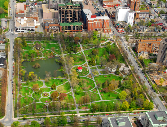 Aerial photo of the Halifax Public Gardens post Juan