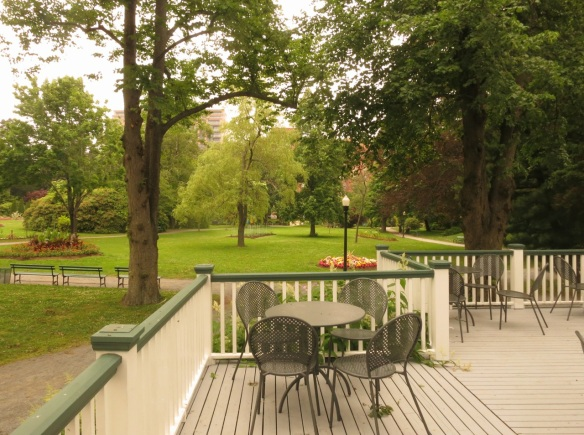 Outdoor deck at the Uncommon Grounds Cafe at the Halifax Public Gardens