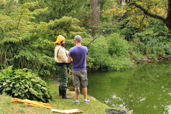 Fisherman on Griffin's pond at the Halifax Public Gardens