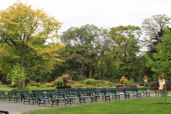 Benches by the bandstand at the Halifax Public Gardens