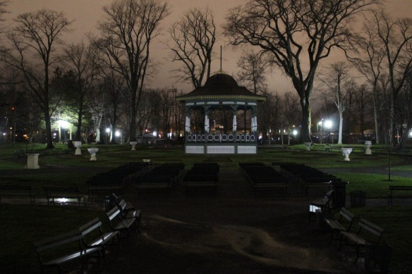 Bandstand at night at the Halifax Public Gardens