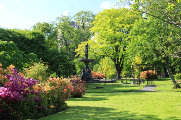 Victoria Jubilee Fountain at the Halifax Public Gardens in June