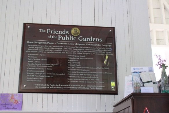Donor's plaque at Horticultural Hall at the Halifax Public Gardens