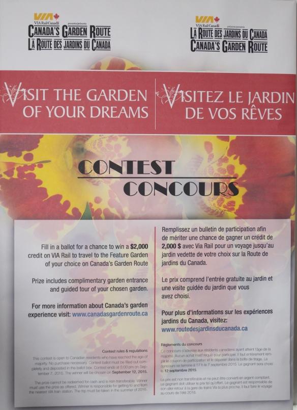 Via Rail's dream garden contest