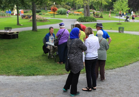 Buying raffle tickets at the Halifax Public Gardens