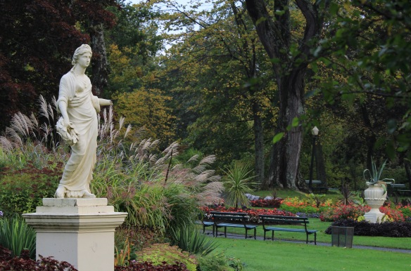 Statue of Flora in October at the Halifax Public Gardens